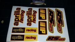 Aprilia RS125 DECALS STICKERS YELLOW, BLACK, RED, RS 125 Racing IP 9 piece